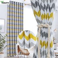YokiSTG-cortinas opacas estampadas con ondas geométricas, cortinas para sala de estar, dormitorio moderno, cocina, ventana tratamiento de cortina