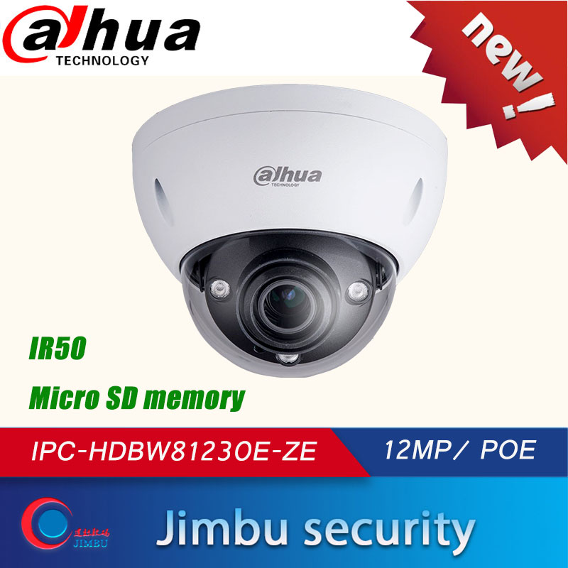 <font><b>Dahua</b></font> <font><b>12MP</b></font> POE 4K Security <font><b>Camera</b></font> Dome onvif IPC-HDBW81230E-ZE 4.1mm ~16.4mm lens IR50M SD Card slot multi-language H.265 image