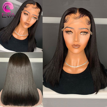 Eva Hair 180% Cheap Mid-Length Straight 360 Lace Frontal Wigs Pre Plucked With Baby Hair Brazilian Remy Human Hair Wig For Women