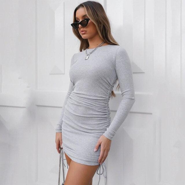 Ladies ribbed drawstring dress bodycon round neck short-sleeve sexy T-shirt dresses WL88 23