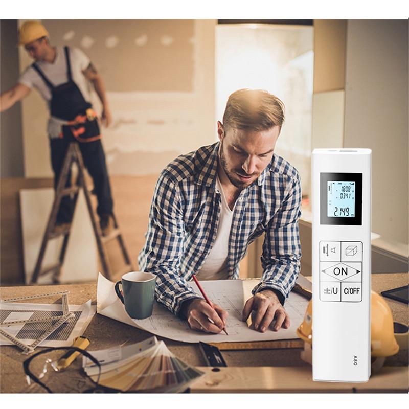 Tools : JRTMFG Laser Rangefinder New Double Measure Bidirectional Laser Distance Meter Handheld Digital USB Rechargeable Laser Measure