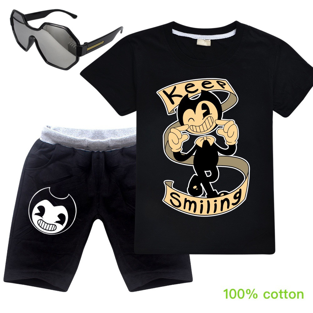 Summer Cartoon Clothing Bendy And The Ink Machine Cotton Boys Girls Children's Clothing Short T-shirt Short Pants Leisure Suit