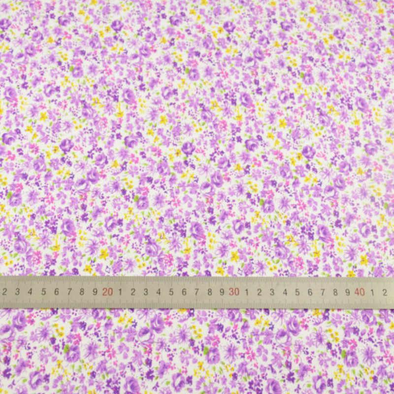 Booksew-100% de tela de algodón con estampado de flores para costura, tela de retales para manualidades, muñecas Tilda, estilo de flores púrpura
