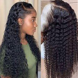 Peluca rizada ondulada con encaje frontal, pelucas de cabello humano para mujeres negras, peluca brasileña de bob oscuro largo frontal, peluca húmeda y ondulada hd completa