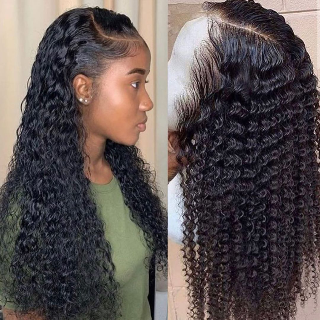 Парик с волнистыми волнами, короткие кудрявые человеческие волосы на фронте, парики для черных женщин, Боб, длинный глубокий фронтальный бр...