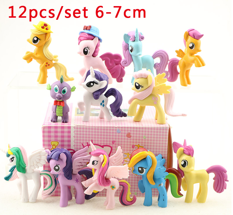 Rainbow Horse 12pcs/set little horse Action Figure Doll Toy Ponis PVC Cute Model Figure Girl Birthday Party toys Free shipping