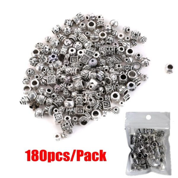 Wholesale Mixed About 180pcs Tibetan Silver Antique Loose Bead Spacer Beads Connectors DIY Jewelry Making Findings(China)