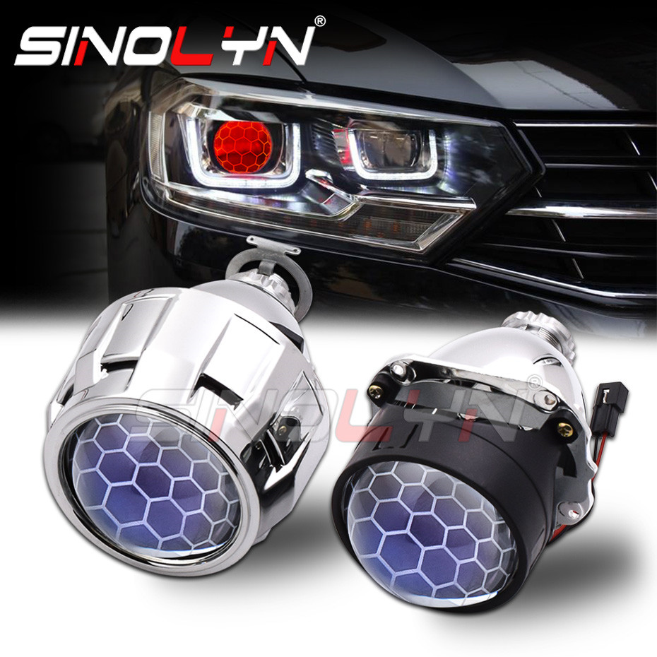 Sinolyn Headlight Lenses 2.5 Honeycomb Bixenon Lens HID Projector Devil Eyes Automobiles For H4 H7 Car Lights Accessories Tuning