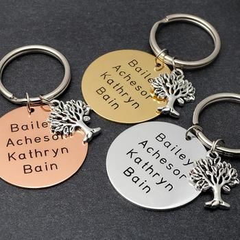 Personalized Key Chain Family Tree Keychain Custom Names Keyring Engraved Key Chain Gift for Mom Birthday Gift for Her wholesale real black blue grey pink python leather key chain customize keychain gift men women xmas family birthday couple gifts