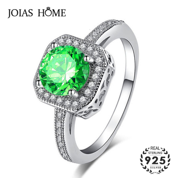 JoiasHome  Classic  925 Silver Ring With Round Shape Emerald Gemstone Fine Jewelry Rings For Women Wedding Party Gift Size 6-10