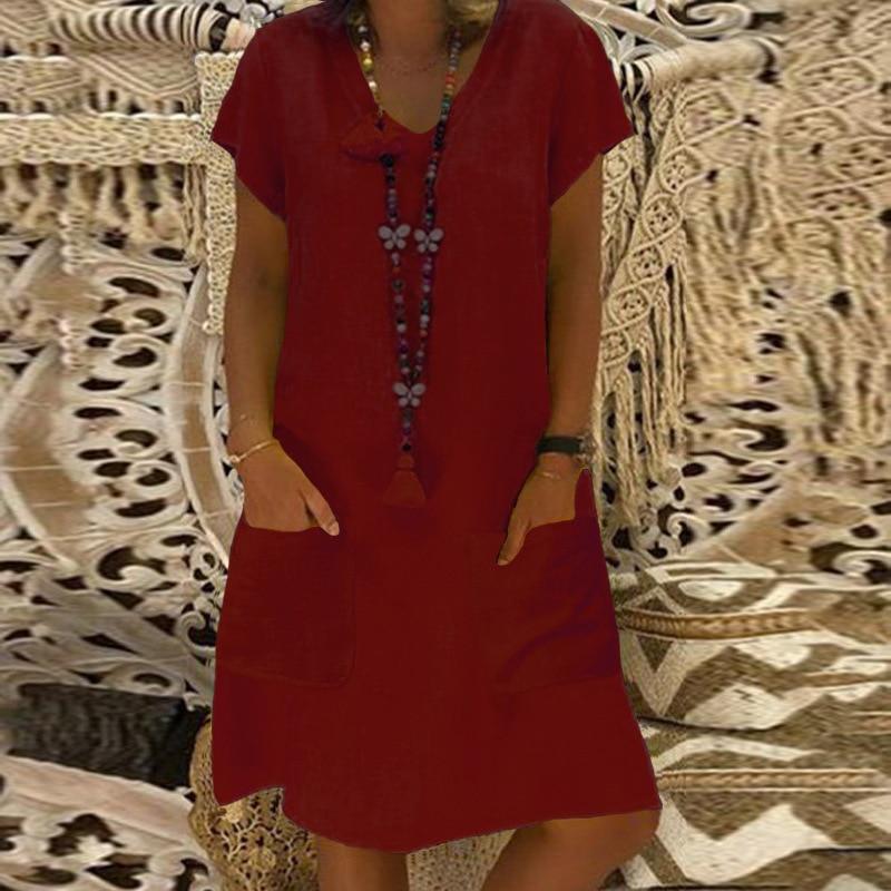 Vestidos Verano Mujer Tallas Grandes Elegante Manga Corta V Cuello Ropa Dama Moderno Sin Tirantes Cintura Alta Medium Largos Vestido Color Solido Casuales Moda Fiesta Dress Batas Y Kimonos