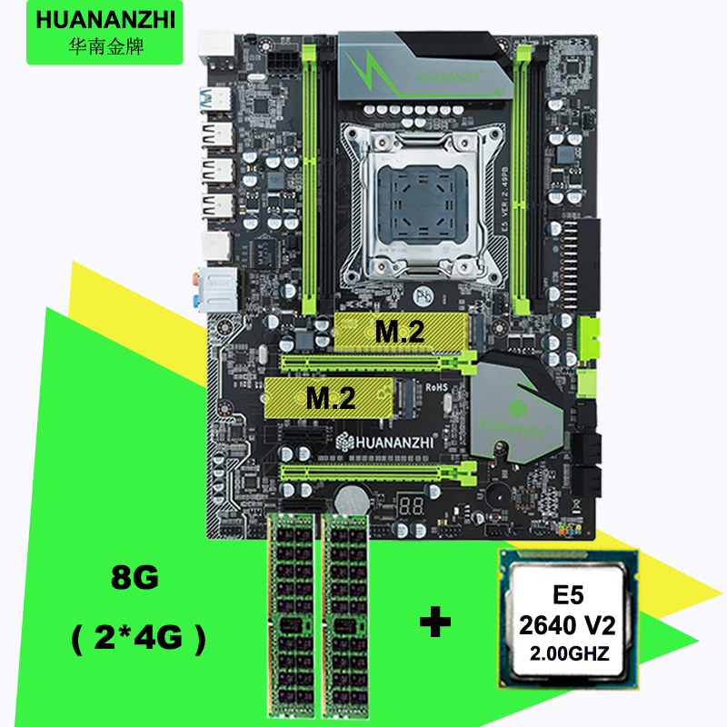 HUANAN <font><b>V2</b></font>.49 X79 motherboard CPU RAM combos Xeon <font><b>E5</b></font> <font><b>2640</b></font> <font><b>V2</b></font> CPU (2*4G)8G DDR3 RECC memorry all good tested 2 years warranty image