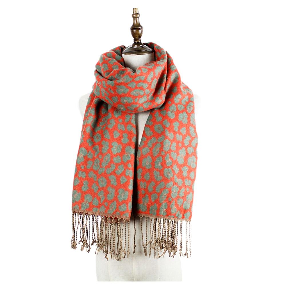 bufanda de leopardo bufanda de cachemira mujer moda cálida chales acrílicos borla tippet mujer bufandas capas robó mujer bufanda larga