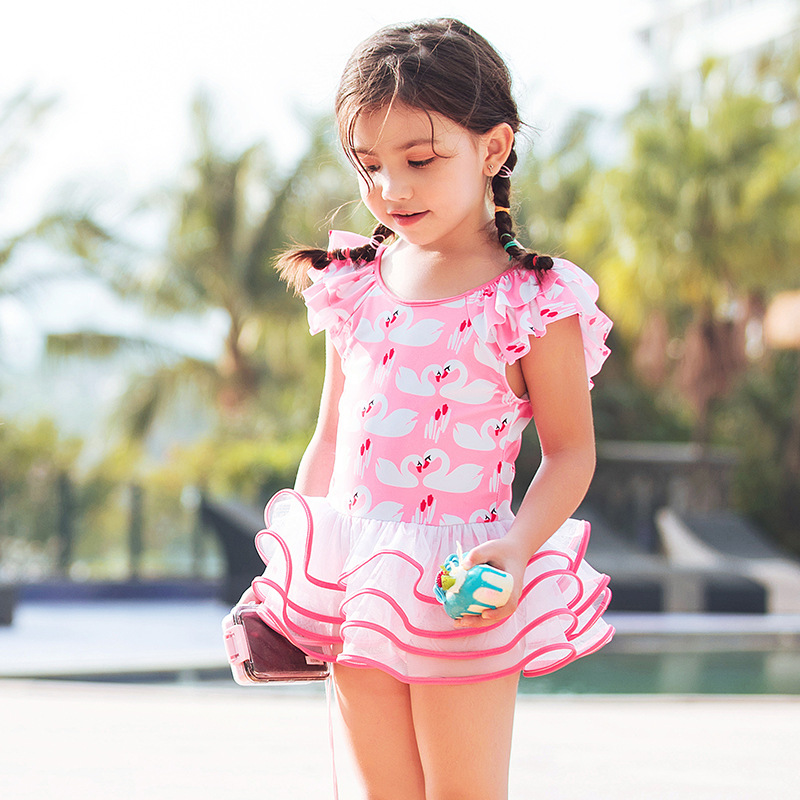 2019 Fashion New Style KID'S Swimwear Cute Cake Layer Dress Bathing Suit Big Kid Children Skirt One-piece Swimwear