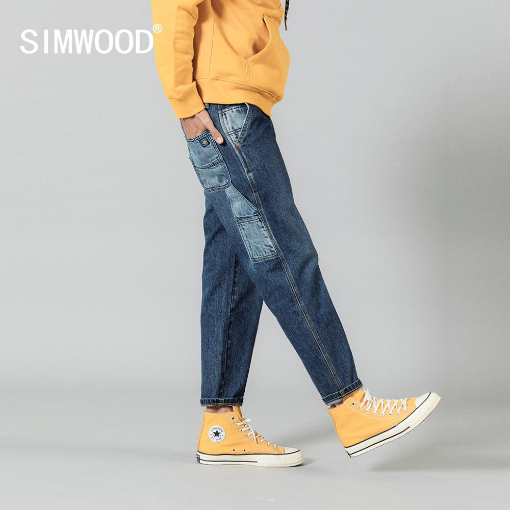 SIMWOOD 2020 Spring New Patchwork Jeans Men Fashion Hip Hop Loose Taper Ankle-length Contrast Color Dark Washed Denim Trousers