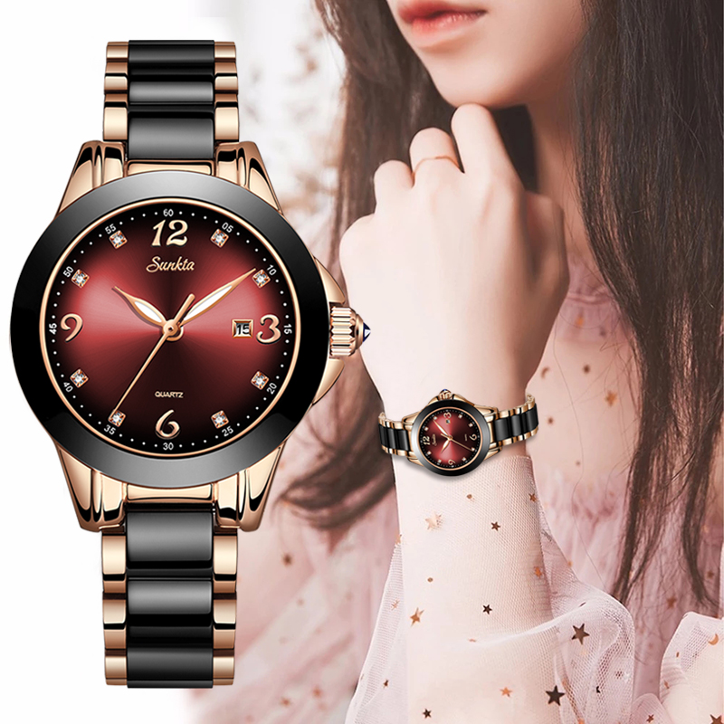 2019 Hot SUNKTA Brand Fashion Watch Women Luxury Ceramic And Alloy Bracelet Analog Wristwatch Relogio Feminino Montre Relogio