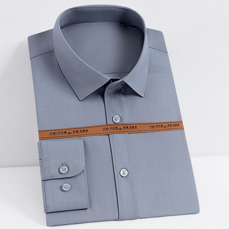 Men's Fashion Bamboo Fiber Long Sleeve Dress Shirts Pocket-less Design Standard-fit Formal Business Casual Easy Care Shirt