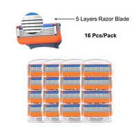 Hommes lames de rasoir 16 Pcs/Pack pour les Cassettes de rasage Compatible avec Gillette Fusion 5 couches en acier inoxydable remplacer la lame de rasoir