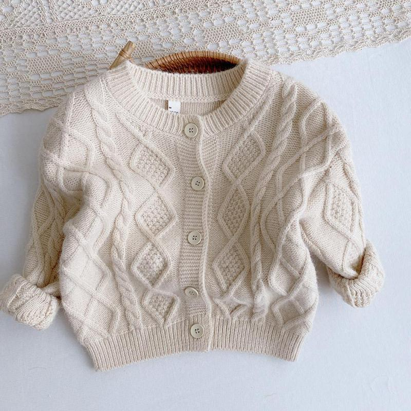 Autumn Winter Baby Boys Girls Knit Cardigan Sweaters Coat Children Clothing Kids Solid Color Knit Cardigan Jacket Tops