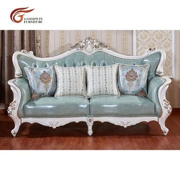 European style living room sectional sofa sets of genuine leather and solid wood sofa set WA521 недорого