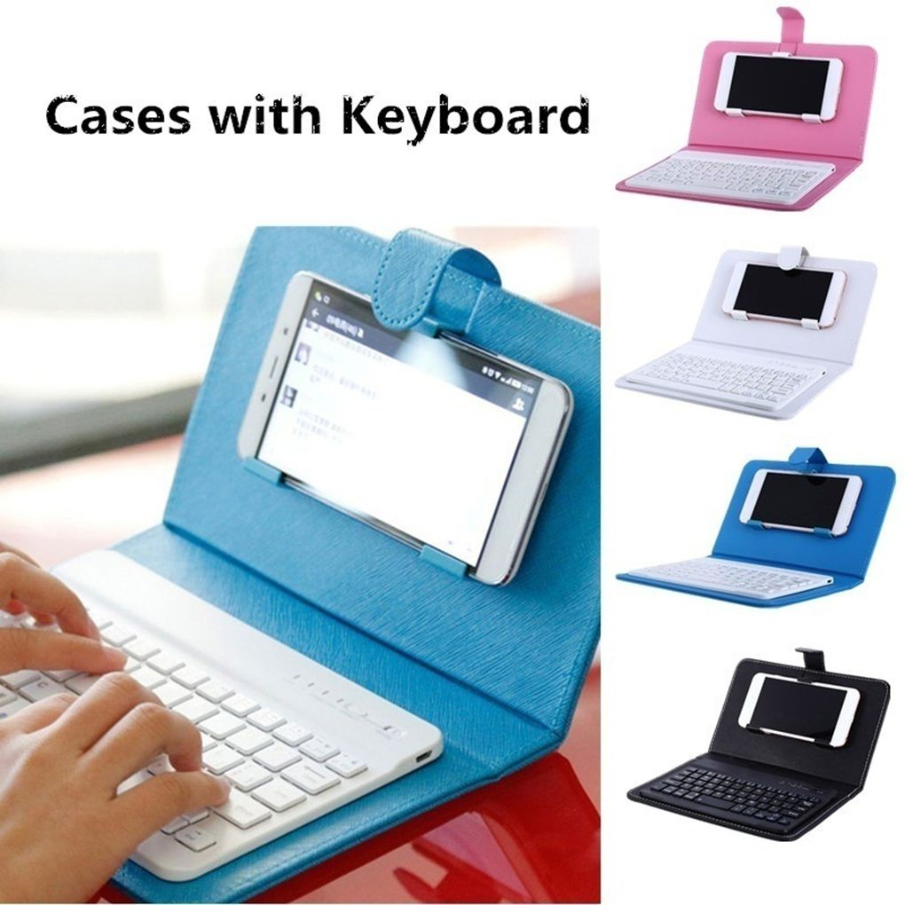 Portable PU Leather Mobile Phone Case Wireless Keyboard For Andriod For Iphone Mobile Phone Protective With Bluetooth Keyboard
