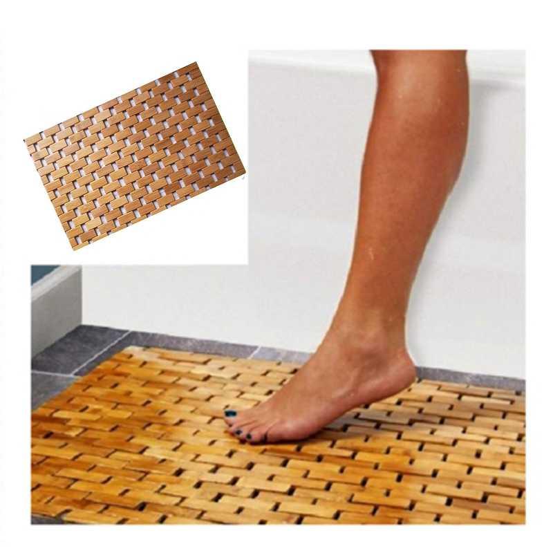 grand tapis de bain antiderapant en bois de teck sol de douche en bambou naturel