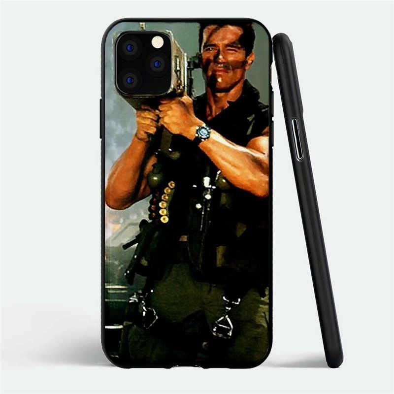 Arnold Schwarzenegger movie Commando 1985 poster glossy smooth black Soft Silicone case For Apple iPhone 11 PRO MAX i11 pro coqu