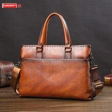 Tide Brand Mens Bag Handbag Leather Business Computer Bag Mens Briefcase Casual Genuine Leather Black Brown Brown Coffee Color