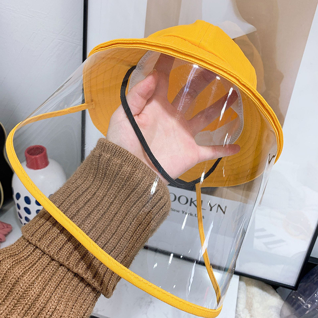 NEW safety bucket hat anti dust mask cover hat anti flue spittle transparent mask full face cover up cute hat for kids 4