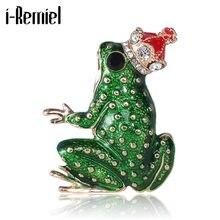 Nouveau vert émail grenouille strass broches pour femmes alliage couronne Animal épinglettes mode bijoux cadeaux vêtements et accessoires