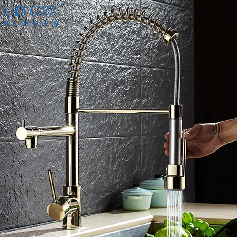 qingyu eleven gold kitchen faucet pull out side sprayer mixer tap kitchen sink faucet 360 rotation kitchen faucets