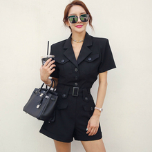 Short Elegant Button Pockets Sleeve Adjusted Sashes OL Work Summer Jumpsuits for Women New Khaki Rompers Womens Jumpsuit