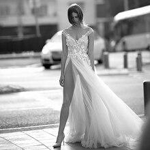 Verngo Линии Свадебное Платье Кружева Аппликация 2020 Прополка Boho Спинки Платья Элегантный Невесты Vestido Де Noiva