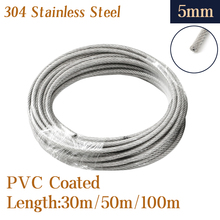 304 Stainless Steel PVC Coated Flexible Wire Rope soft Cable 30m/50m/100m Transparent Stainless Steel Clothesline Diameter 5mm