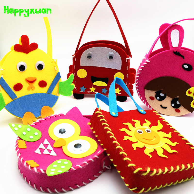 Happyxuan 8pcs Kindergarten Handmade DIY Kids Felt Bag Set Sewing Art Crafts Kit Creativity For Children  Fine Motor Skills Toy