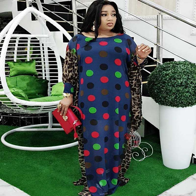 African Dresses For Women Plus Size Chiffon Dress Leopard Patchwork Dot Polka Dress Dashiki Robe O-Neck Maxi Dress Partyclub