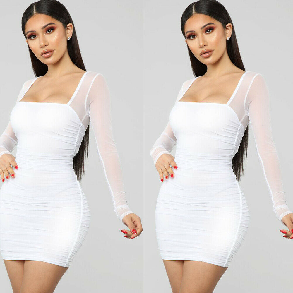 New Women Prom Evening Party Summer <font><b>Beach</b></font> Mini <font><b>Dress</b></font> Casual Mesh Sheer See Through Long Sleeve Bandage Sundress image