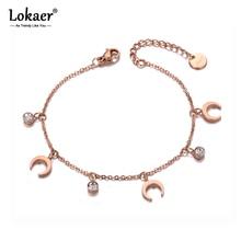 Lokaer Trendy Stainless Steel Moon & CZ Crystal Charm Bracelets For Women Girls Bohemia Chain & Link Bracelet Jewelry B19138