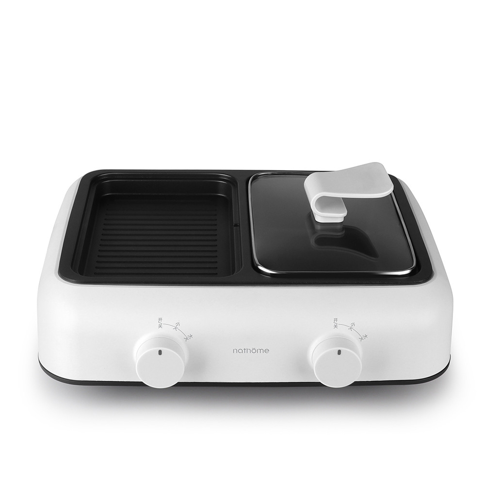 Portable électrique Grill1400W électrique intérieur et extérieur Shabu Shabu Hot Pot avec Barbecue médical pierre antiadhésive