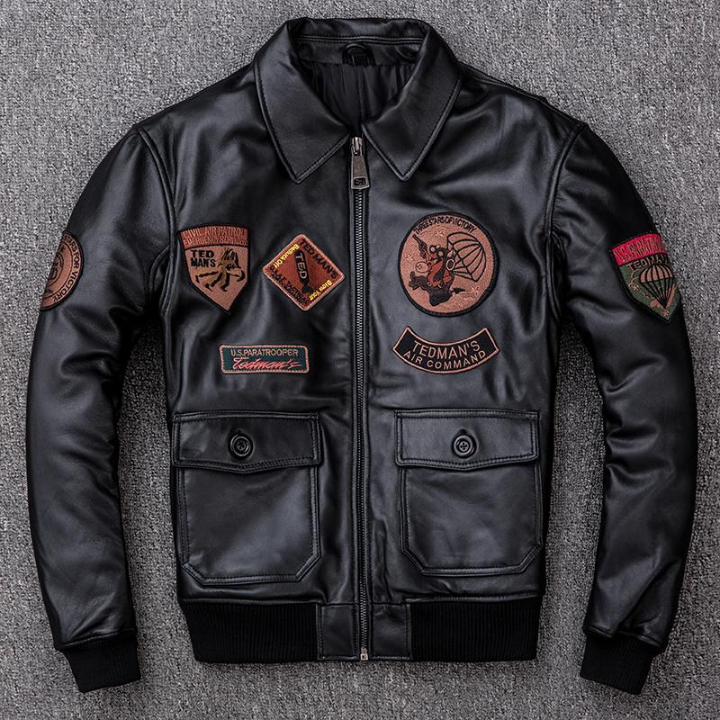 Men's Leather Jacket Autumn Winter Sheepskin Coat Motorcycle Genuine Leather Jackets Plus Size Short Flight Jacket KJ2298