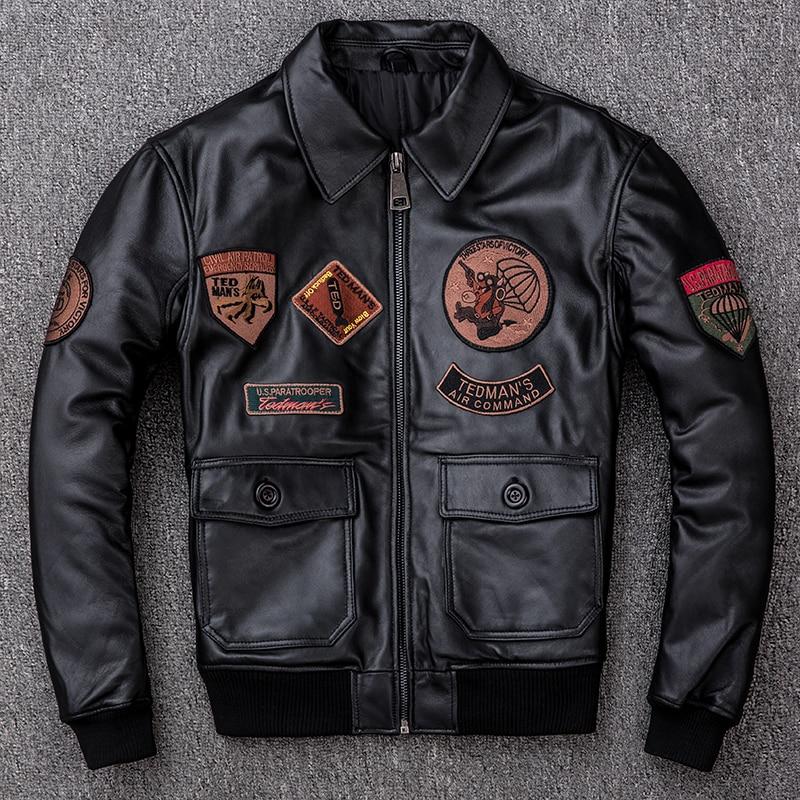 Men's Leather Jacket Autumn Winter Sheepskin Coat Motorcycle Genuine Leather Jackets Plus Size Short Flight Jacket KJ2298