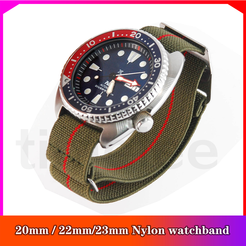 New Arrival French Troops Parachute Bag For Nato Nylon Elastic Belt Watchband   20mm 22mm 23mm Watch Strap