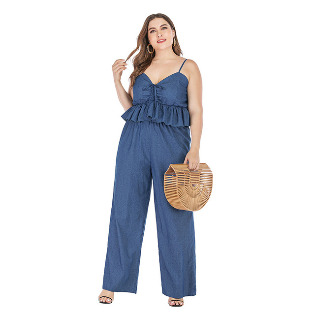 2019 new summer plus size sets for women large sleeveless loose casual denim sling tops and pants jumpsuits blue 4XL 5XL 6XL 7XL 3