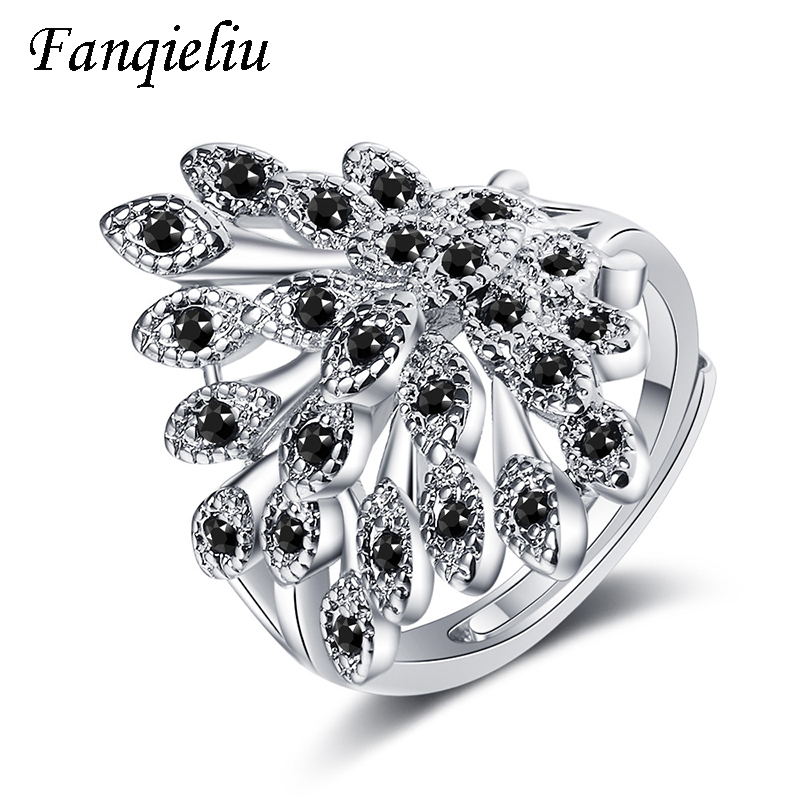 Fanqieliu Black Crystal Luxury Jewelry Cuff Wedding Bands Solid 925 Sterling Silver Ring For Women FQL20515