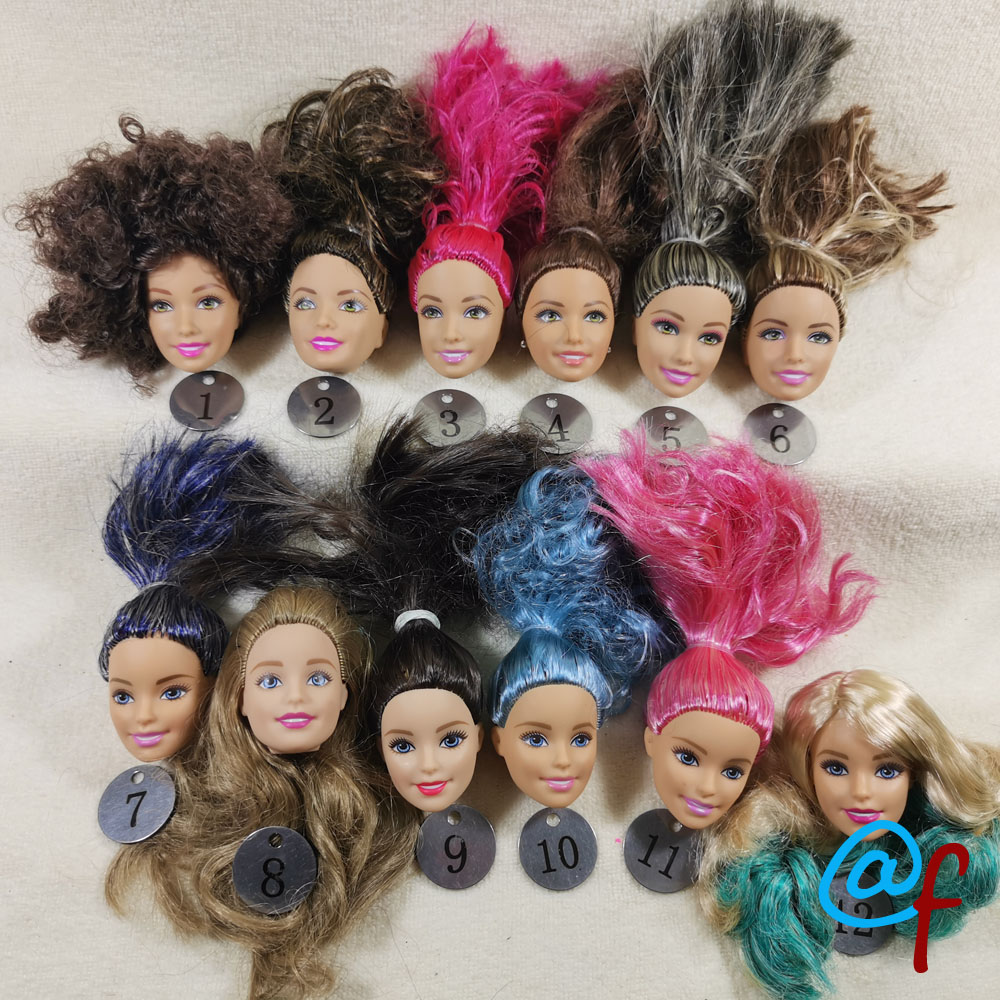 B20-26 Original Foreign Trade European Beauty1/6 OOAK NUDE Doll Head Mussed Long Hair For DIY Soft PVC Head  90%NEW