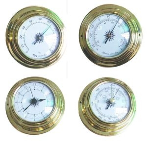 Image 4 - 4 Inches 4 PCS/set Thermometer Hygrometer Barometer Watches Clock Copper Shell Zirconium Marine for Weather Station