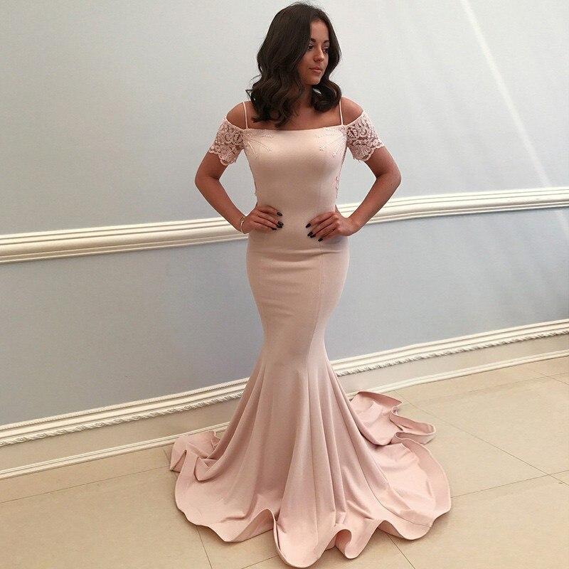 Mermaid Pink Prom Dress Sweetheart Spaghetti Straps Long Evening Party Gown Off Shoulder Satin Mermaid Vestidos De Gala