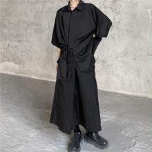 2021 summer new product Yoshi Yamamoto dark dark department loose belt shirt lovers matching short-sleeved shirt students