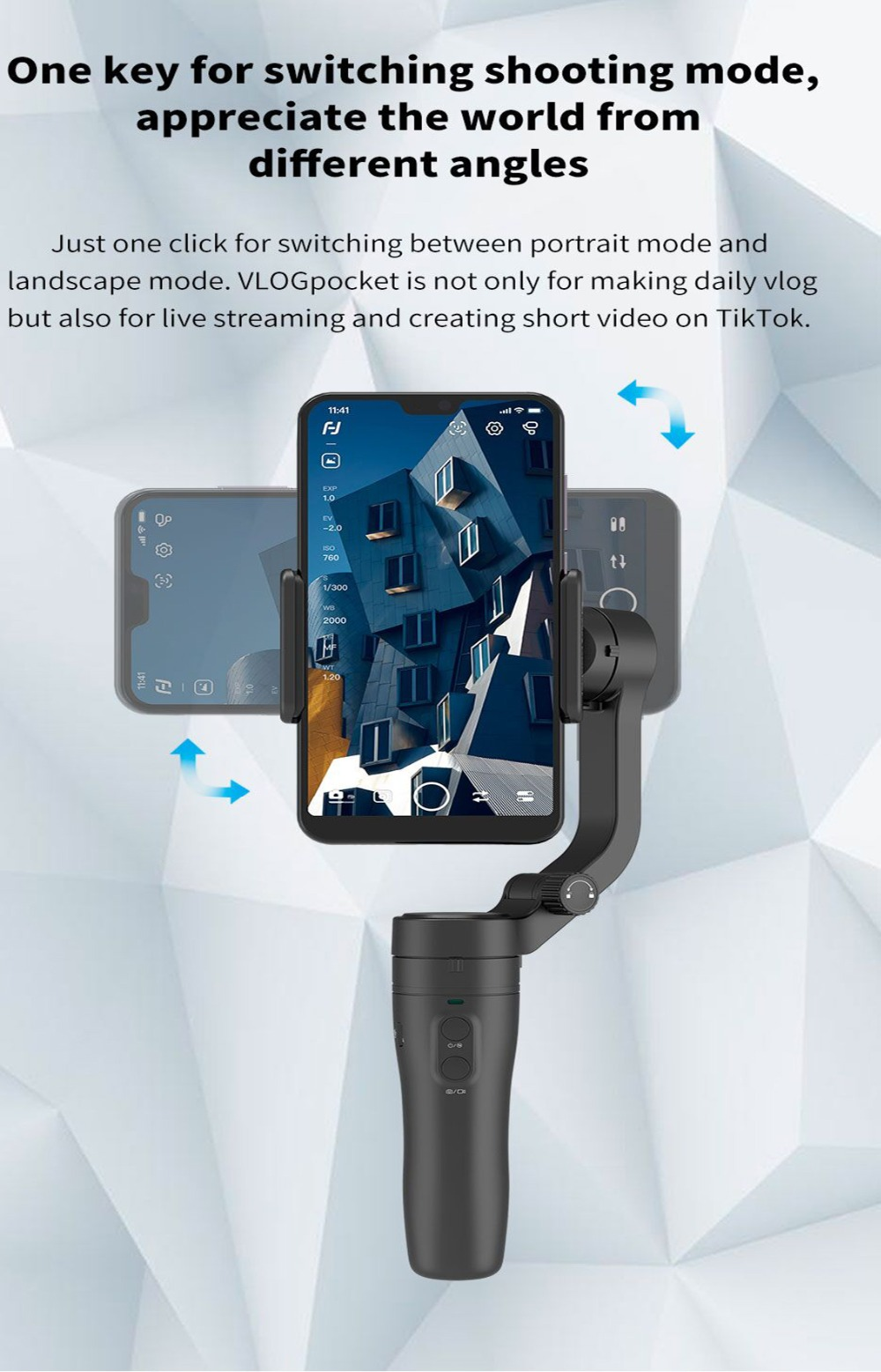 Cardan dobrável do telefone do bolso de feiyutech vlog 3 axis do punho fornecedor do cardan para o iphone