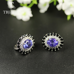 Image 4 - tbj 4ct Nautral Blue Tanzanite Clasp earring 925 sterling silver fine jewelry oval 7*9mm dianna earring for women christmas gift